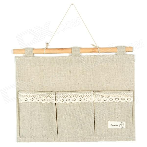 Hanging Linen 3-Pockets Gadgets Storage Bag - Grey Beige Lowell Куплю товары