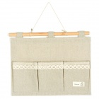 Hanging Linen 3-Pockets Gadgets Storage Bag - Grey Beige