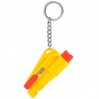 3-in-1 Car SOS Whistle + Seat Belt Cutter + Emergency Life-Saving Hammer Keychain - Yellow + Red