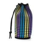 Winmax WMP20063E Colorful Dot Pattern Water Bottle Bag w/ Drawstring - Blue + Yellow + Purple