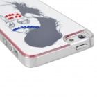 Long Hair Beauty Figure w/ Sparkling Crystal Protective Plastic Back Case for Iphone 5 - White