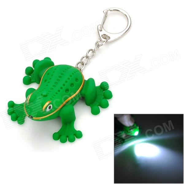 Cute Funny Frog Style Adornment Keychain w/ LED Light & Croak Sound - Green cute frog style two white led flashing light keychain w sound effect pink 3 x lr1130