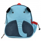 Cute Cartoon Elephant Style Canvas Kid's Backpack Shoolbag - Blue + Red + Black