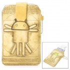 Stylish Android Robot Pattern PU Leather Carrying Pouch for Iphone / Xiaomi - Khaki
