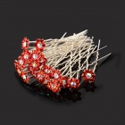 Rhinestone Plum Blossom U Style Hair Pin - Red + Silver (20 PCS)