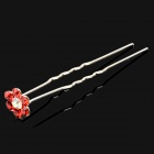 Strass Plum Blossom U Style Hair Pin - Rot + Silber (20 PCS)