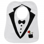 Cute Small Suit Pattern Velcro Tape Baby's Bib - White + Black
