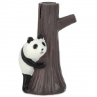 Cute Panda Holding Tree Trunk Desk Decoration Resin Photo Note Clip - Dark Brown + White + Black