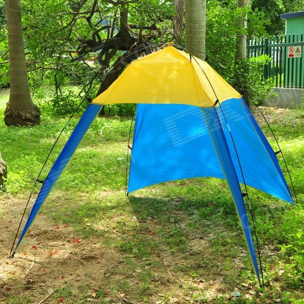 цены Triangle 3-Door UV Protection Sun-Shading Fishing Polyester Beach Tent - Yellow + Blue