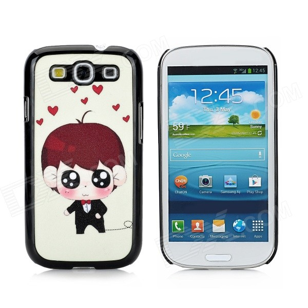 Hearts Cool Boy Pattern Matte Protective Plastic Hard Back Case for Samsung S3 i9300 - Multicolored