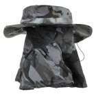 Outdoor UV Protection Cotton Large Brimmed Hat w/ Neck Protection / Mask - Blue Camouflage