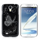 Butterfly Flower Pattern Protective Plastic Hard Back Case for Samsung Galaxy S4 i9500 - Black