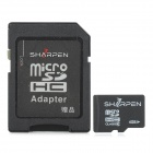 SHARPEN SMHV10-4G SDHC Flash Memory Card w/ SD Card Adapter - Black + Grey (Class 10 / 4GB)
