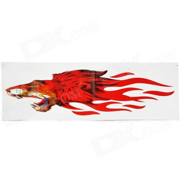DIY Flame-Like Wolf Head Pattern Car / Motorcycle Decoration Stickers - Red (2 PCS)