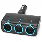 Widepath W56 1-to-3 Car Cigarette Lighter Socket Splitter w/ Dual-USB Output - Black + Blue (12~24V)