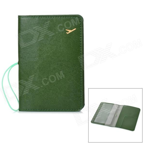 Protective PU Leather Passport / Card Holder Case - Green never leather badge holder business card holder neck lanyards for id cards waterproof antimagnetic card sets school supplies