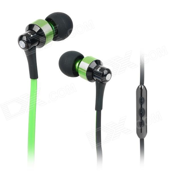 AWEI S50VI Flat Cable In-Ear Earphone w/ Microphone for Iphone 4 / 4S / 5 / Ipad - Green + Black kz ed8m earphone 3 5mm jack hifi earphones in ear headphones with microphone hands free auricolare for phone auriculares sport