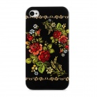 Rose Style Protective Plastic Back Case for Iphone 4 / 4S - Black + Multicolor