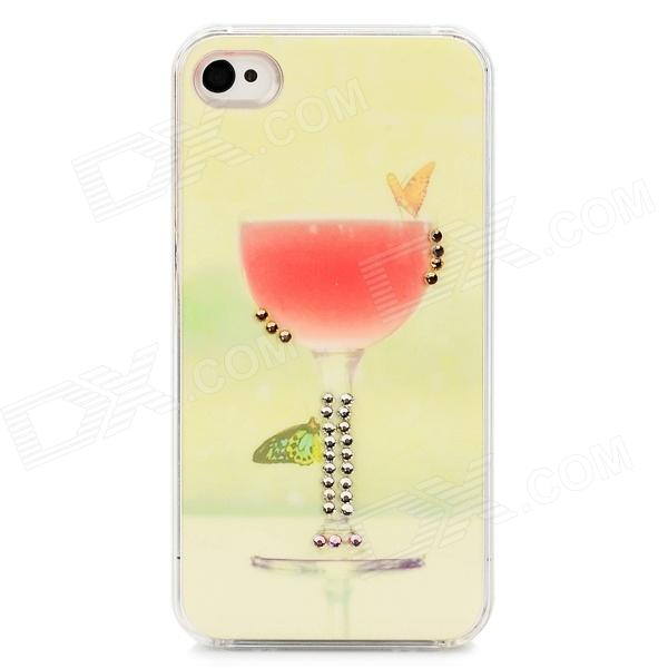 Stylish Cup & Butterfly Style Protective Plastic Back Case for Iphone 4 / 4S - Light Green + Pink silk style protective pu leather plastic case for iphone 4 4s deep pink