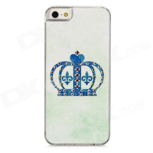 Crown Style Protective Rhinestone Plastic Back Case for Iphone 5 - Blue cute girl pattern protective rhinestone decoration back case for iphone 5 sky blue