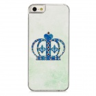Crown Style Protective Rhinestone Plastic Back Case for Iphone 5 - Blue