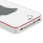 Beautiful Girl Style Protective Rhinestone Plastic Back Case for Iphone 4 / 4S - White + Black