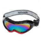 Stylish Outdoor Cycling Skiing UV400 Protection Windproof Resin 7-Color Lens Goggles - Red + Black
