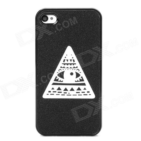 Eye of Providence Style Protective Frosted Back Case for Iphone 4 / 4S - Black + White cartoon pattern matte protective abs back case for iphone 4 4s deep pink
