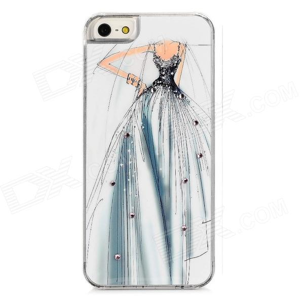Elegant Wedding Dress Style Protective Rhinestone Plastic Back Case for Iphone 5 - White