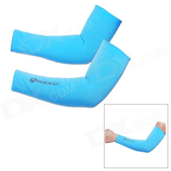NUCKILY E273 Professional Outdoor Sports Anti-Sunburn Cycling Arm Sleeves - Blue (Pair)