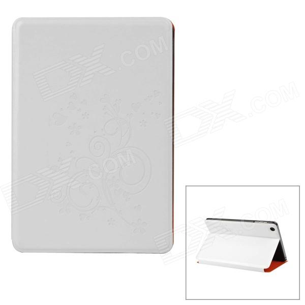 Protective Embossed Flower Pattern PU Leather Case for Ipad Mni - White