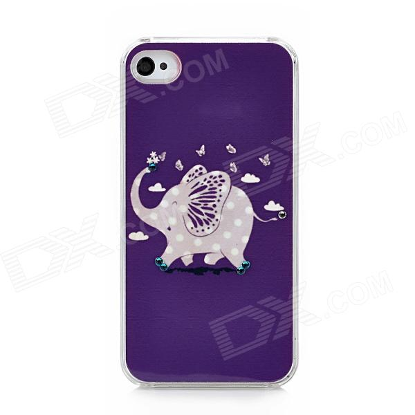 Elephant Pattern Protective TPU Hard Back Case w/ Rhinestone for Iphone 4 / 4S - Purple protective pc tpu back case for iphone 5 w anti dust cover lavender purple
