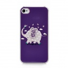 Elephant Pattern Protective TPU Hard Back Case w/ Rhinestone for Iphone 4 / 4S - Purple