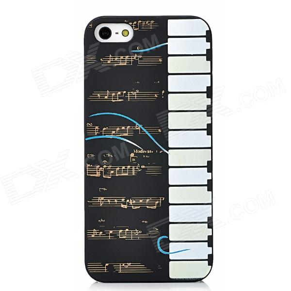 Glow-in-the-Dark Relief Piano Style Protective TPU Back Case for Iphone 5 - Black + White + Yellow piano books for the young musician