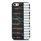Glow-in-the-Dark Relief Piano Style Protective TPU Back Case for Iphone 5 - Black + White + Yellow
