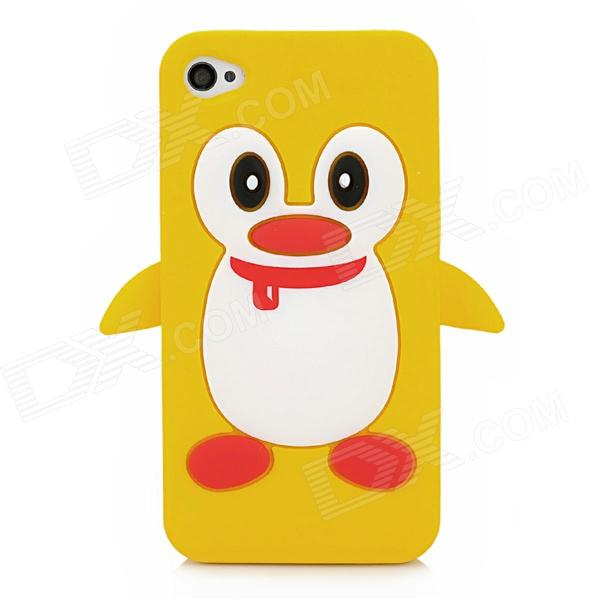 Cute 3D Cartoon Penguin Style Protective Silicone Soft Back Case for Iphone 4 / 4S - Orange + White cute 3d cartoon penguin style protective silicone soft back case for iphone 4 4s green white