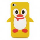 Cute 3D Cartoon Penguin Style Protective Silicone Soft Back Case for Iphone 4 / 4S - Orange + White