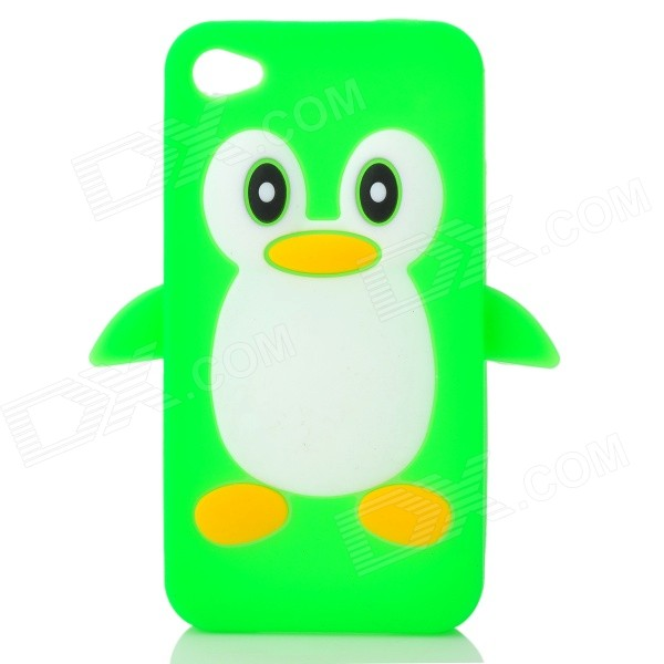 Cute 3D Cartoon Penguin Style Protective Silicone Soft Back Case for Iphone 4 / 4S - Green + White cute marshmallow style silicone back case for iphone 5 5s yellow white