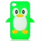 Cute 3D Cartoon Penguin Style Protective Silicone Soft Back Case for Iphone 4 / 4S - Green + White