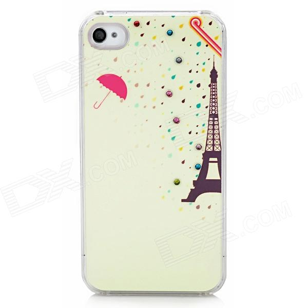 Eiffel Raindrop Pattern Protective ABS Hard Back Case w/ Rhinestone for Iphone 4 / 4S - Light Yellow stylish 3d eagle pattern protective abs pc back case for iphone 4 4s multicolored