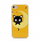Crescent Cat Pattern Protective TPU Hard Back Case w/ Rhinestone for Iphone 4 / 4S - Yellow + Black