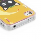 Crescent Cat Mönster Skyddande TPU Hard Back Case w / Rhinestone för Iphone 4 / 4S - Gul + Svart