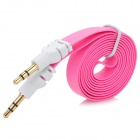 3.5mm Male to Male Flat Audio Extension Cable - Deep Pink + White (100 CM)