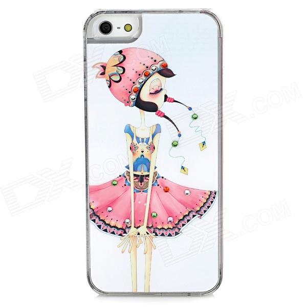Naughty Girl Pattern Protective Plastic Hard Back Case w/ Rhinestone for Iphone 5 - White + Pink girl playing guitar pattern protective back case for iphone 5 white black red