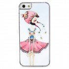 Naughty Girl Pattern Protective Plastic Hard Back Case w/ Rhinestone for Iphone 5 - White + Pink