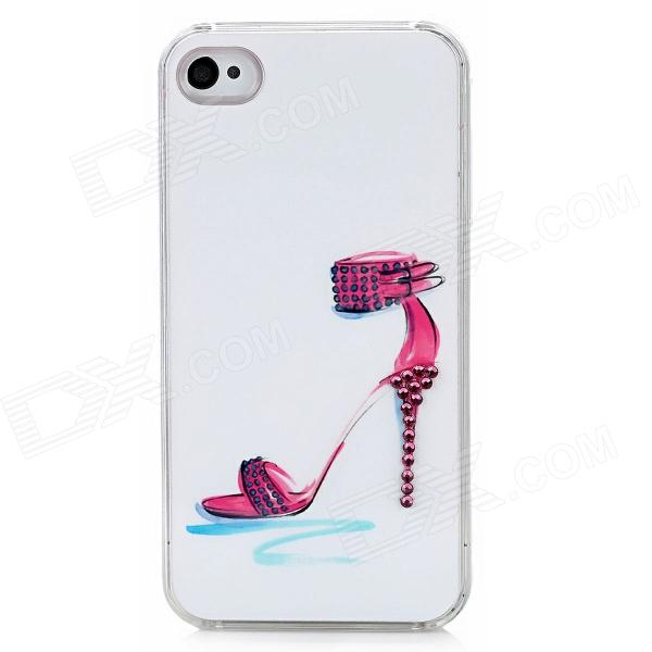 Sexy High Heel Sandal Protective Plastic Back Case w/ Rhinestone for Iphone 4 / 4S - White + Red sldpj stylish ultra thin protective pu leather case cover w visual window for iphone 4 4s red