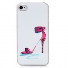Sexy High Heel Sandal Protective Plastic Back Case w/ Rhinestone for Iphone 4 / 4S - White + Red