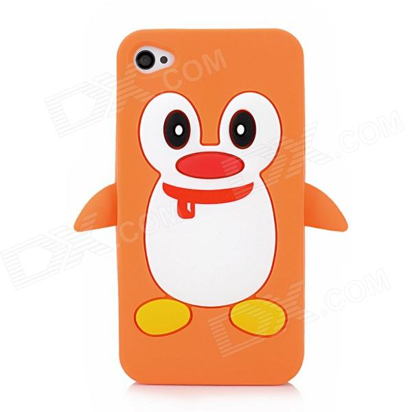 Cute 3D Cartoon Penguin Style Protective Silicone Soft Back Case for Iphone 4 / 4S - Yellow + White cute 3d cartoon penguin style protective silicone soft back case for iphone 4 4s green white