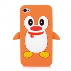 Cute 3D Cartoon Penguin Style Protective Silicone Soft Back Case for Iphone 4 / 4S - Yellow + White