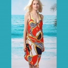 Women'S Sexy Gold Chain Front Cross Summer Beach Chiffon Cover-Up - Red + Orange + Black + White
